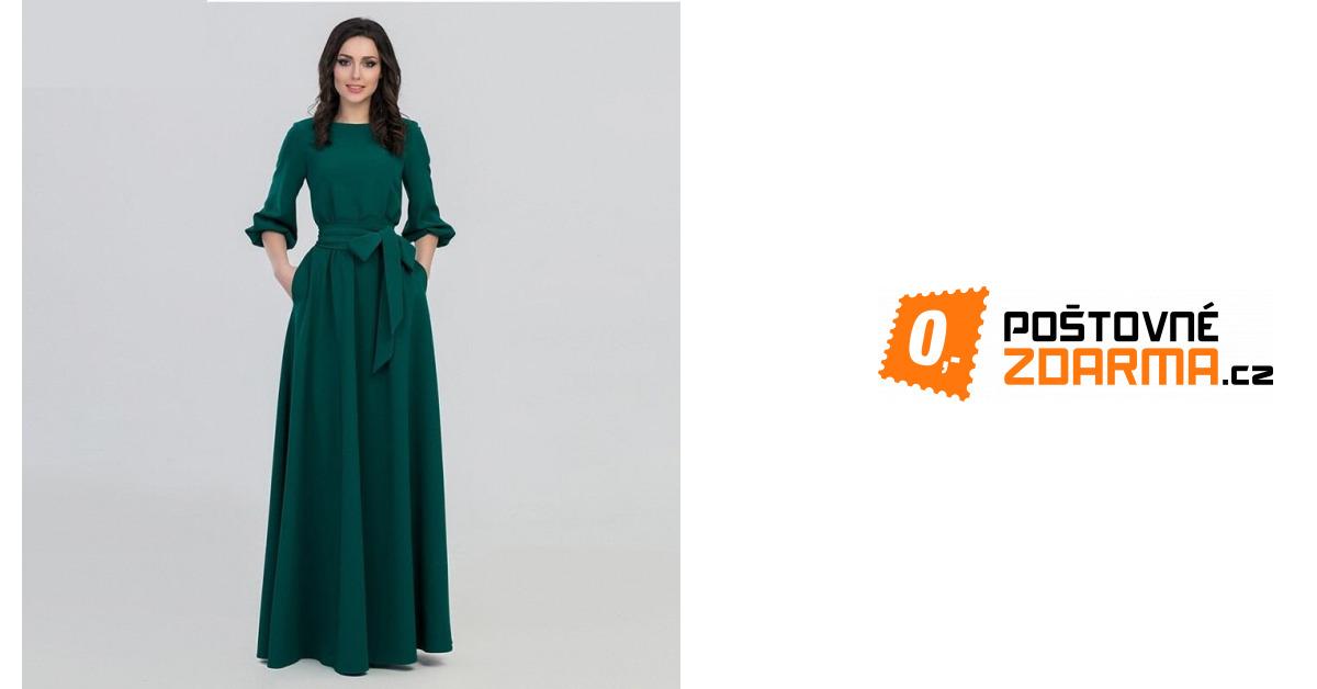 16d0887cc64 Dlouhé zelené šaty s delším rukávem