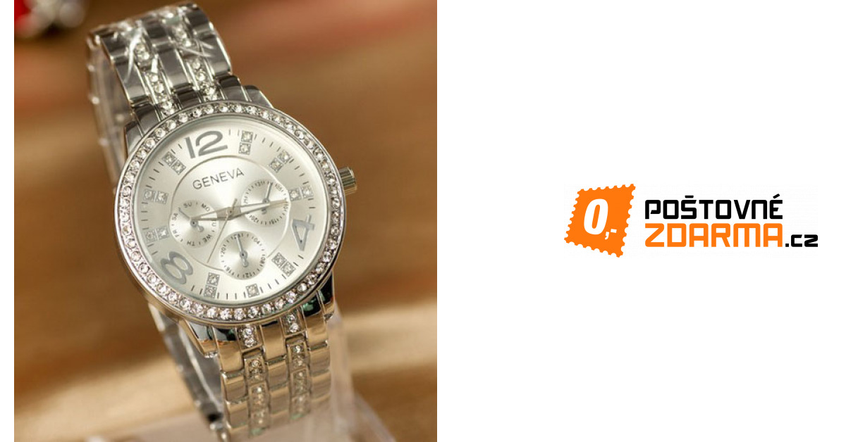 Luxusní hodinky GENEVA s čirými kamínky - 3 barvy Stříbrná ... 34793c0ce8f