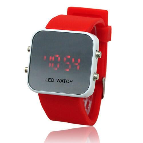 Zrcadlové LED hodinky