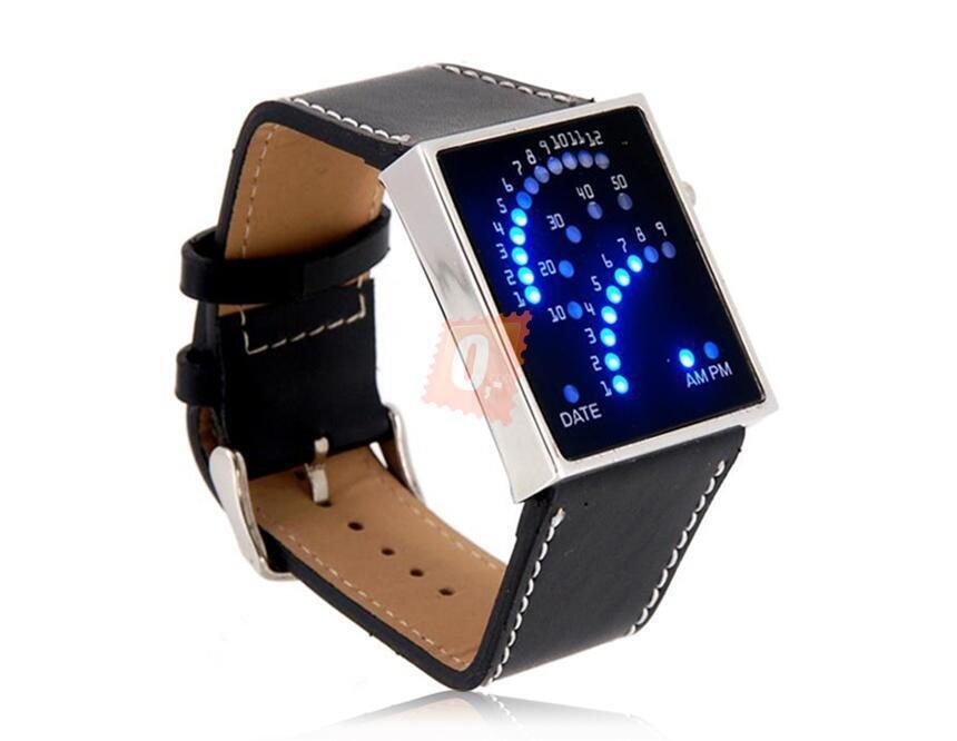 Černé binární hodinky