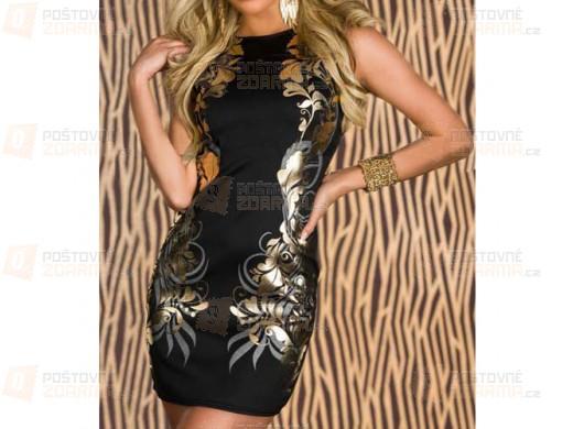 Černé pouzdrové šaty s tištěným vzorem