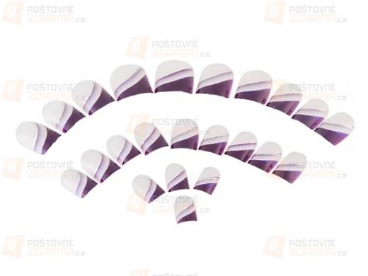 24 kusů nalepovacích nehtů s fialovými konci
