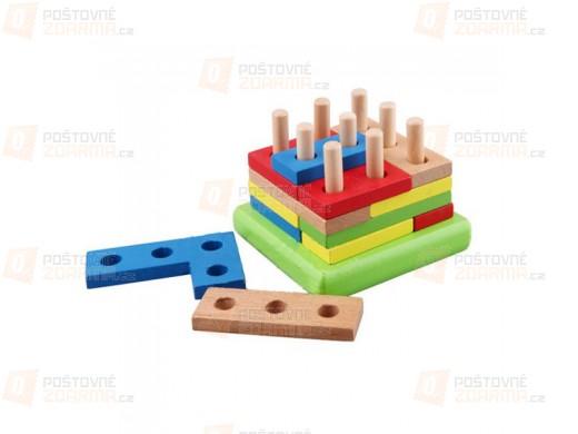 Dětská dřevěná hračka - geometrické bloky