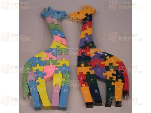 Dětské dřevěné puzzle ve tvaru žirafy