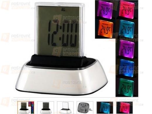 LED budík s dotykovým LCD displejem a 7 druhy barevného podsvícení