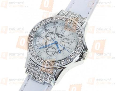 Dámské hodinky s třpytivými kamínky - bílý pásek