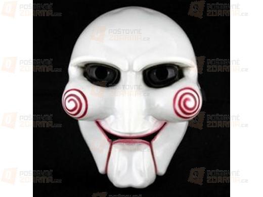 Karnevalová maska inspirovaná hororovým filmem Saw