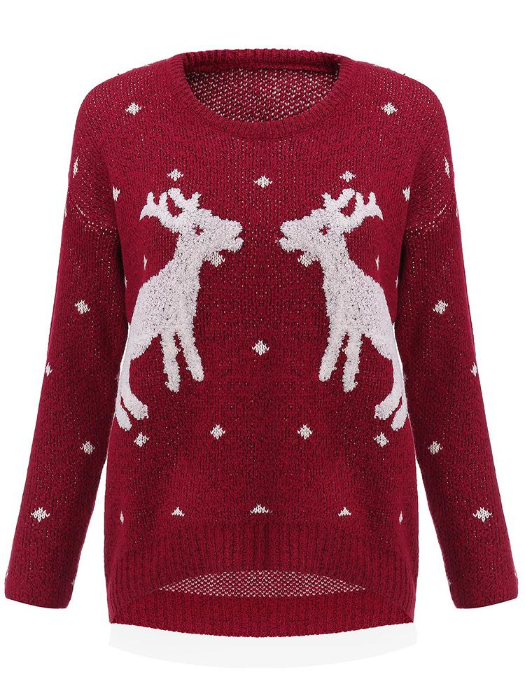 Dámský vánoční svetr se sobem