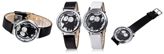 Dámské hodinky s kočičkou v originálním provedení
