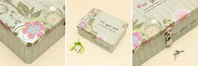 Krabice s motivem květin se zámečkem