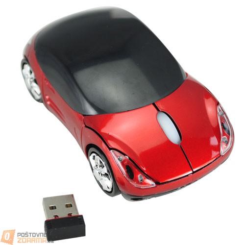 Bezdrátová optická myš ve tvaru Ferrari - červená