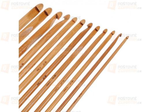 Sada 12 bambusových háčků na háčkování - různé velikosti