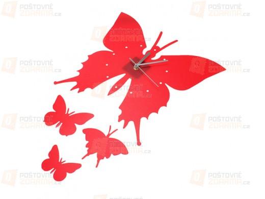 Hodiny v designu motýla - černá a červená barva