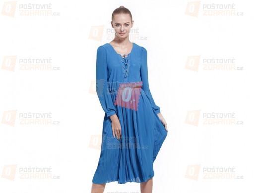 Dámské letní šaty s dlouhým rukávem v modré barvě - vel. S