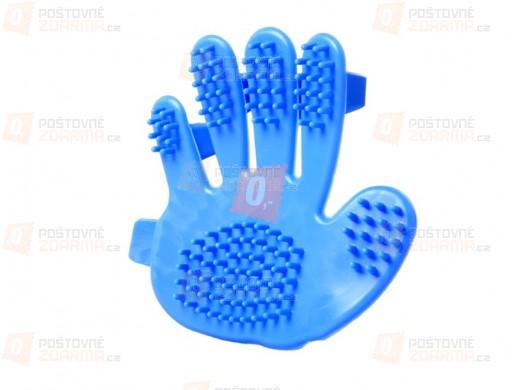 Vyčesávací a masážní hřeben ve tvaru ruky - modrý