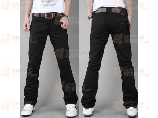 Černé pánské kalhoty pro volný čas