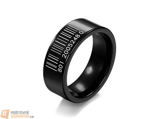 Prsten pro pány s motivem čárového kódu