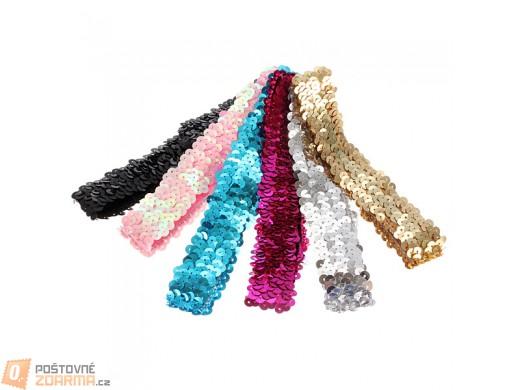 Elastická čelenka z barevných flitrů