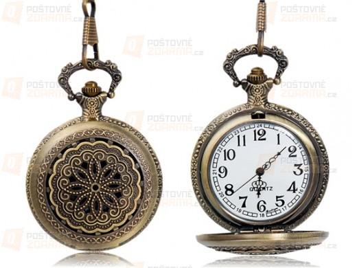 Kapesní retro hodinky s ornamentem - bronzové
