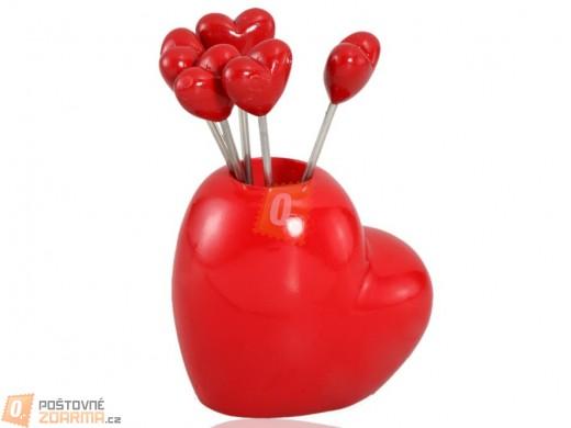 Sada napichovacích vidliček s motivem srdce - červená