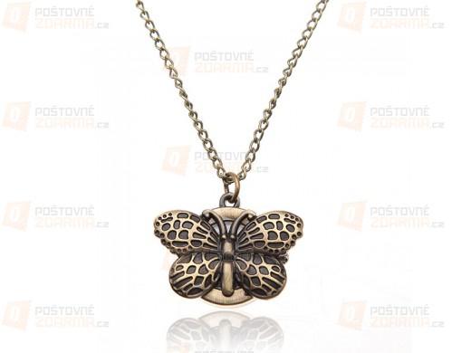 Hodinky na řetízku s motýlkem