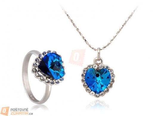 Elegantní set - náhrdelník a prsten s motivem srdce