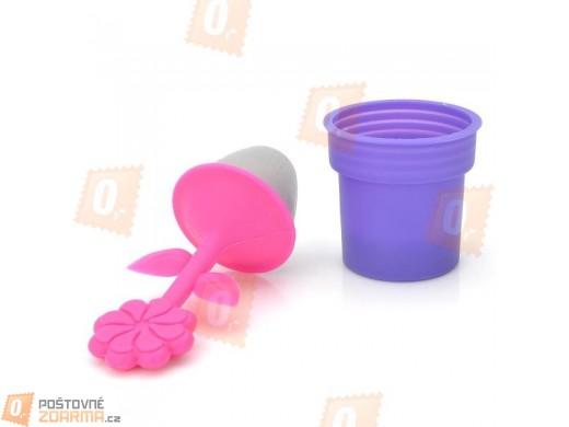 Silikonové sítko na čaj, květináček s květinkou - fialovo-růžový