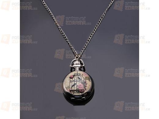 Řetízkové hodinky s obrázkem ptačí klece