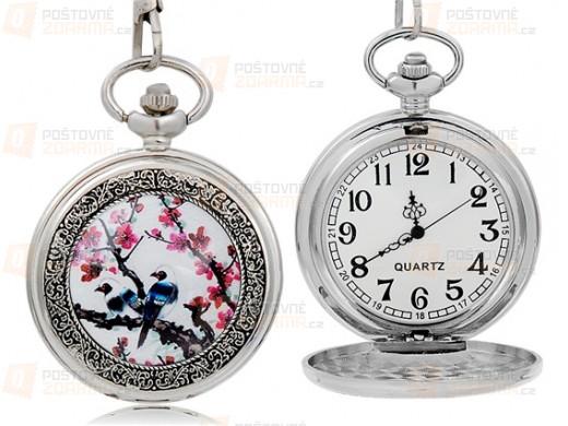 Závěsné hodinky s motivem ptáčka a květin
