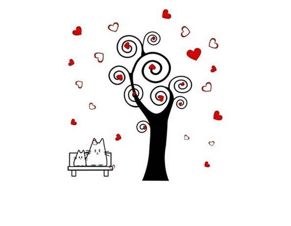 Samolepka na zeď - strom s listy ve tvaru srdce