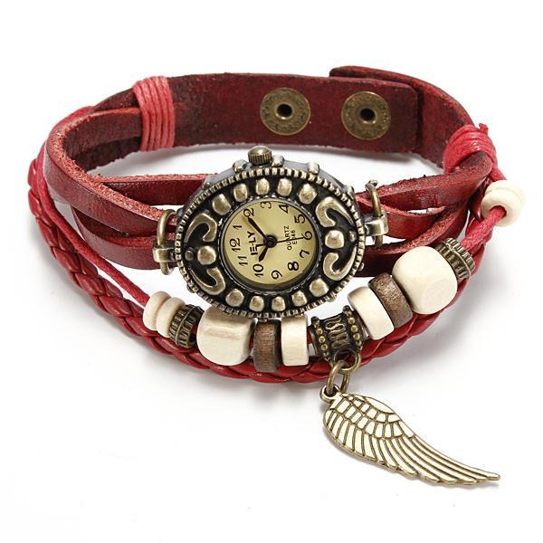Vintage retro hodinky - koženkový pásek
