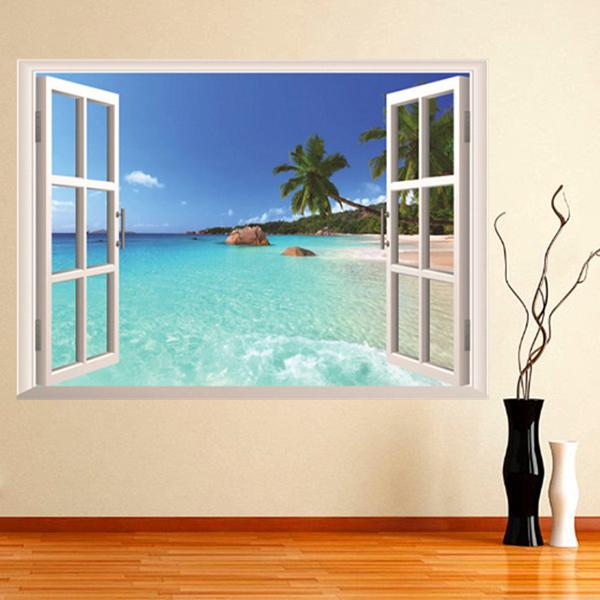 3D samolepka na zeď - okno na pláž