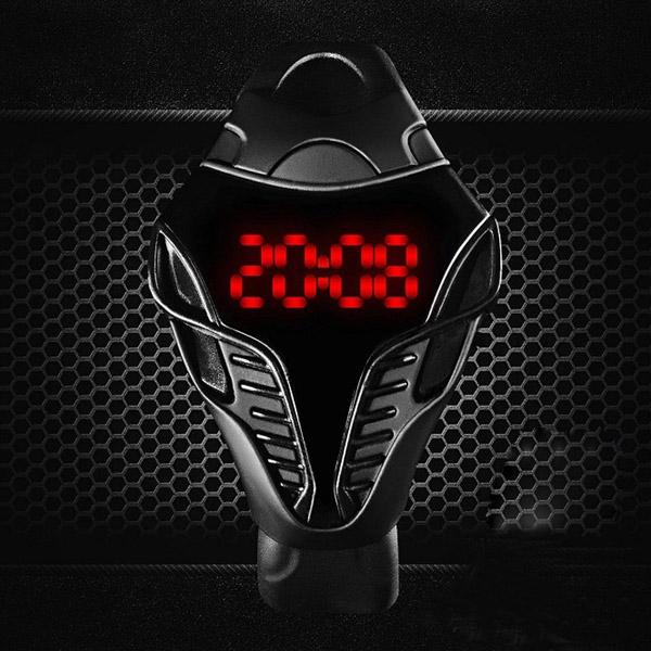Stylové pánské LED hodinky - barva černá s modrou