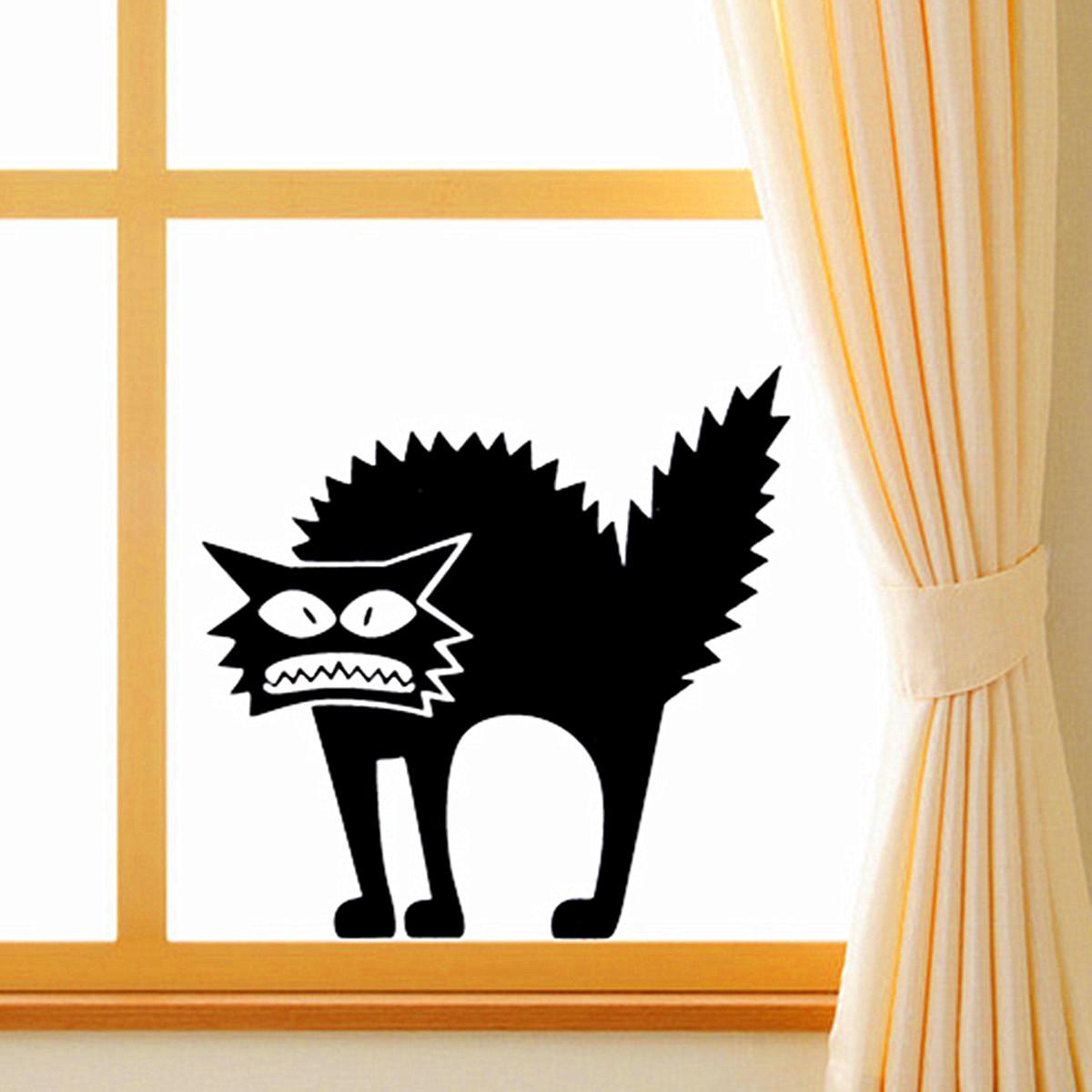 Samolepka na okno - Naježená kočička