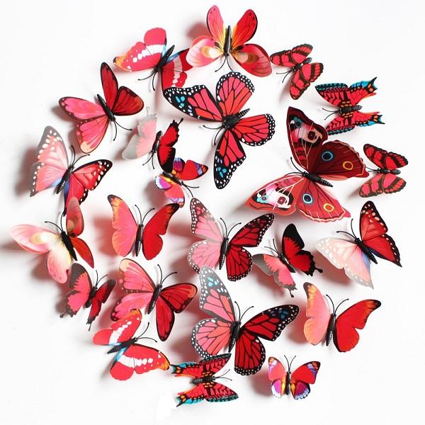 Dekorace v podobě 3D motýlků - 5 barev