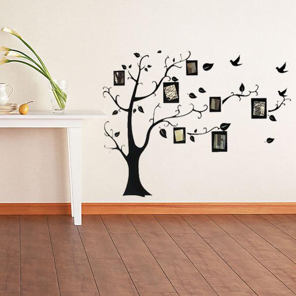 Nálepka na zeď v podobě stromu s fotorámečky