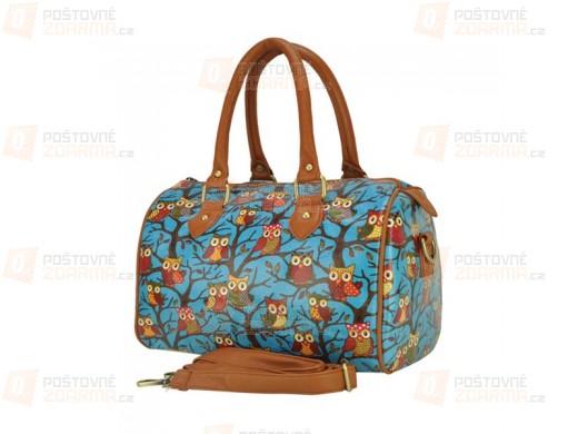 Dámská kabelka s motivem sovy - modrá