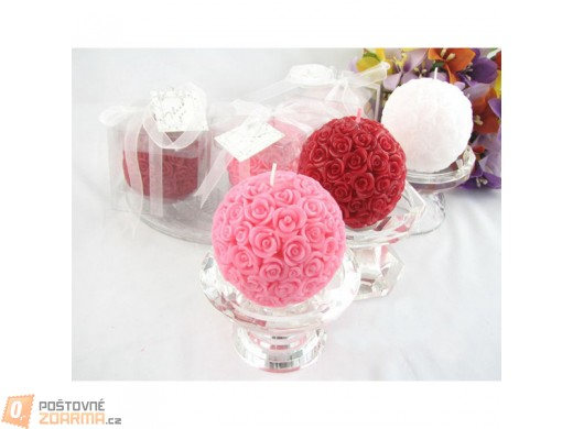Kulatá svíčka s dekorem růžiček