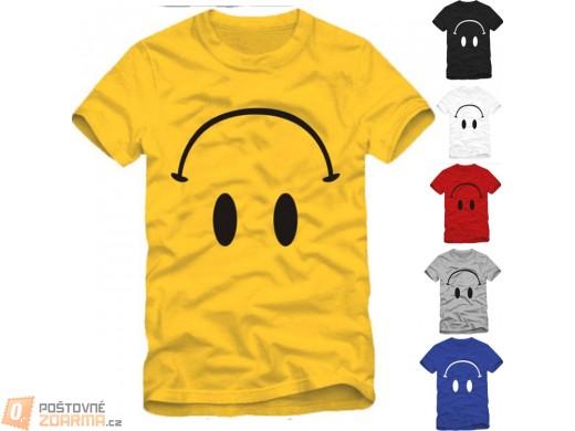 Unisex tričko s potiskem obráceného smajlíka